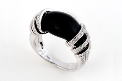 Black Onyx and Diamond Dress Ring