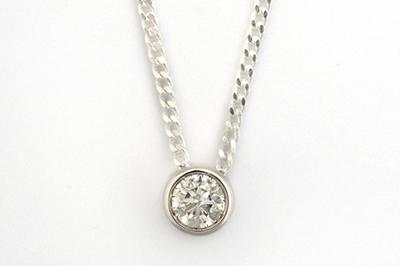 White Gold Solitaire Diamond Pendant