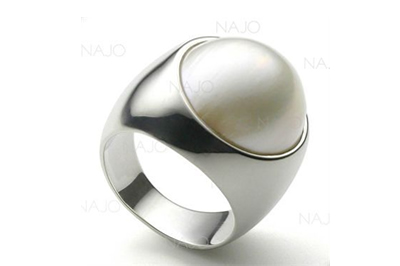 White Mabe Pearl Ring in Sterling Silver