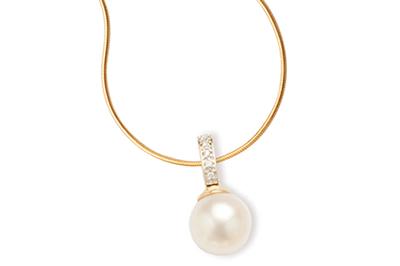 White South Sea Cultured Pearl and Diamond Pendant