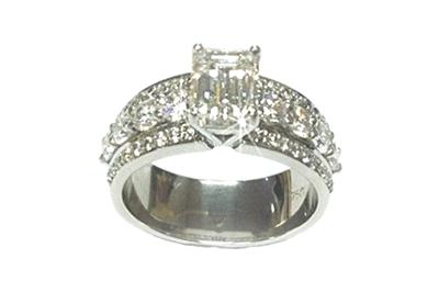 Platinum Emerald Cut and Round Diamond Engagement Ring