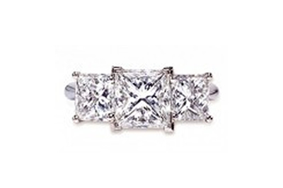 Three Princess Cut Diamond Engagement Ring