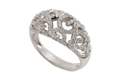 Diamond Open Filigree Dome Ring