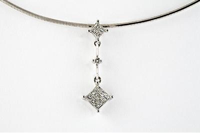 Art Deco Diamond Princess Cut Pendant