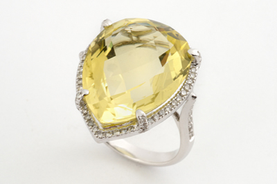 Pear Shaped Citrine and Diamond Halo Ring