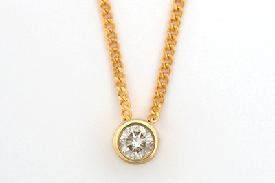 Yellow Gold Solitaire Diamond Pendant