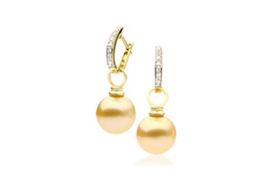 Gold South Sea Pearl and Diamond Earrings