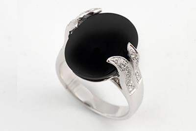 Round Black Onyx and Diamond Dress Ring