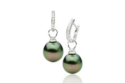 Tahitian and Diamond Pearl Hoop Earrings