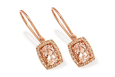 Morganite and Diamond Halo Drop Earrings