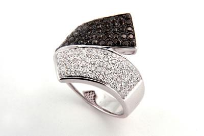 Black and White Diamond Dress Ring