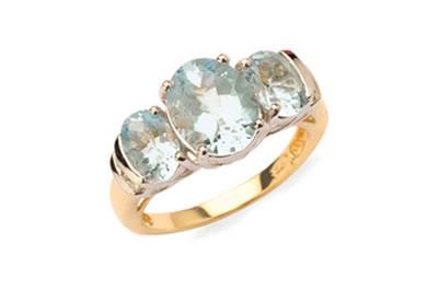 Three Oval Mint Quartz Dress Ring