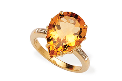 Pear Shaped Citrine and Diamond Ring