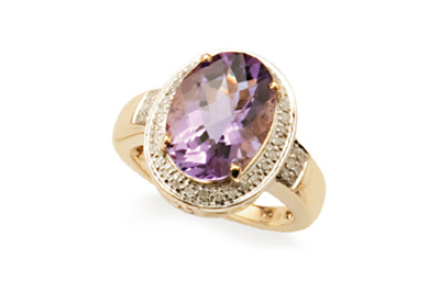 Oval Diamond Halo and Amethyst Ring