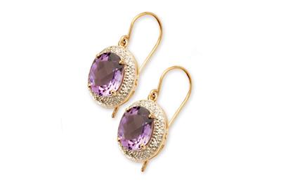 Oval Diamond Halo and Amethyst Drop Earrings