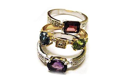 Set of Three Gemstone Rings